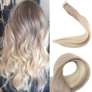 """18"""" 4 PACK #18/60 Blonde HUMAN HAIR TAPE INS *NWT"""